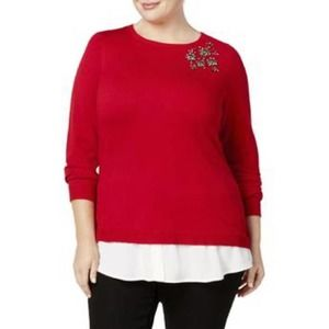 Charter Club sz 0X red sweater with jewels